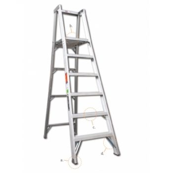 Escalera c/plataforma en aluminio