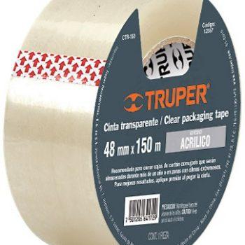 "Cinta de Empacar transparente   48mmx150mt ""TRUPER"" CTR-150"